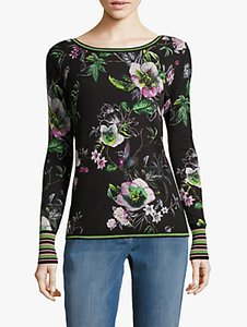 Read more about Betty barclay floral print jumper black dark green