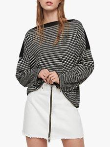 Read more about Allsaints keya stripe jumper black chalk white