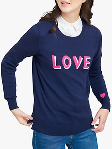 Read more about Joules love colour block crew neck jumper navy pink