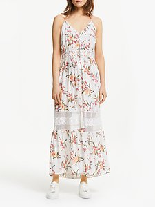 Read more about Y a s yasfiala floral sheer panel maxi dress white multi