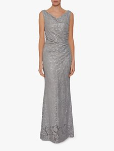 Read more about Gina bacconi harlene sequin lace maxi dress grey