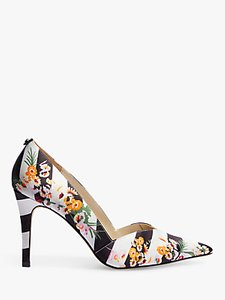 Read more about Karen millen striped and floral stiletto heel court shoes multi