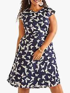 Read more about Yumi curves butterfly print skater dress navy
