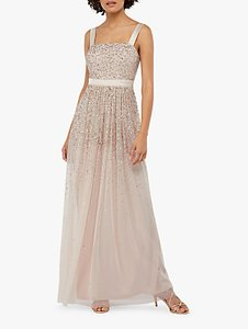 Read more about Monsoon leila embellished tulle maxi dress nude