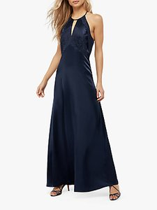 Read more about Monsoon rhea satin lace maxi dress navy