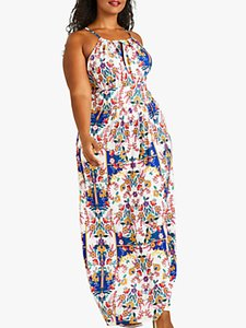 Read more about Yumi curves mexican print maxi dress ivory