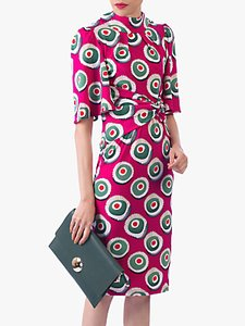 Read more about Jolie moi abstract print high neck midi dress pink multi