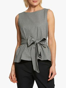 Read more about Helen mcalinden maggie gingham tie front top black white