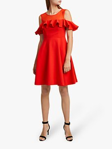Read more about French connection alissa cold shoulder dress flame