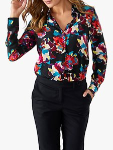 Read more about Pure collection washed silk floral print blouse black summer floral