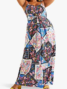 Read more about Yumi curves floral scarf print maxi dress multi