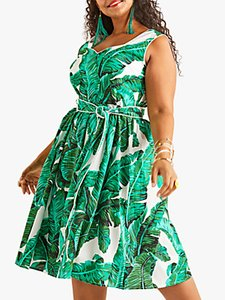 Read more about Yumi curves tropical palm print dress green