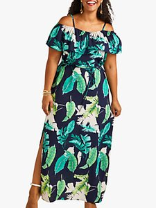 Read more about Yumi curves palm print maxi dress with side splits navy multi