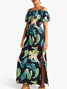 Read more about Yumi palm print maxi dress with side splits navy multi