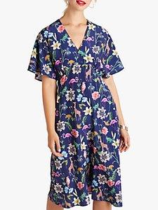 Read more about Yumi tropical animal print kimono dress navy multi