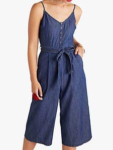 Read more about Yumi button detail denim jumpsuit blue