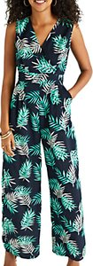 Read more about Yumi palm print sleeveless jumpsuit navy