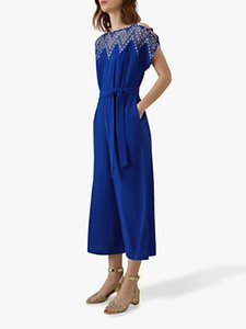 Read more about Karen millen embroidered wide leg jumpsuit blue