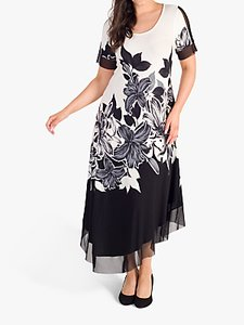 Read more about Chesca garland floral mesh insert maxi dress ivory black