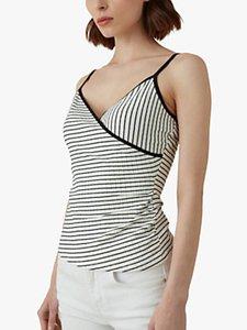 Read more about Karen millen wrap front stripe cami top white black