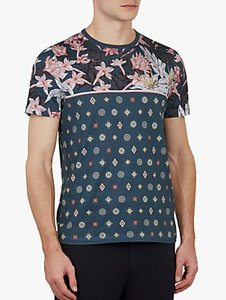 Read more about Ted baker lyme floral print cotton t-shirt blue multi