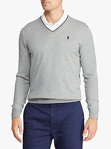 Read more about Polo golf by ralph lauren merino wool v-neck jumper andover heather