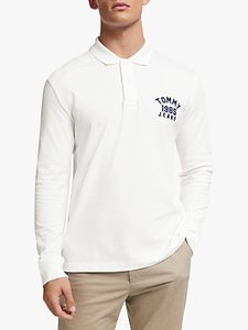 Read more about Tommy jeans chest logo long sleeve polo shirt classic white
