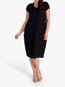 Read more about Chesca notch neck pleat dress black