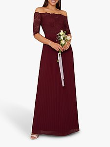 Read more about Chi chi london whitley lace bardot dress burgundy