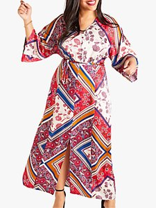 Read more about Yumi curves scarf print dress multi