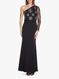 Read more about Adrianna papell beaded one sleeve asymmetric maxi dress black