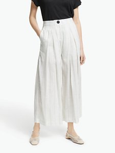 Read more about John lewis partners wide leg stripe trousers ivory black