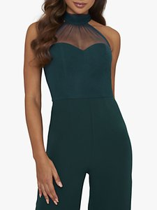 Read more about Chi chi london piera tie back wide leg jumpsuit teal