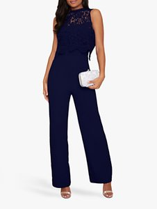Read more about Chi chi london sevda floral lace bodice jumpsuit navy