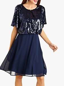 Read more about Yumi sequin kimono party dress navy