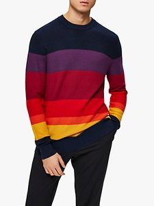 Read more about Selected homme stripe crew neck knit jumper ski patrol