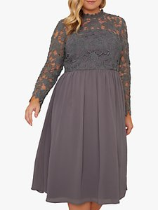Read more about Chi chi london curve zela lace midi dress charcoal
