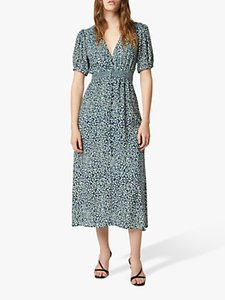 Read more about French connection cade spot print drape button front midi dress forest green multi
