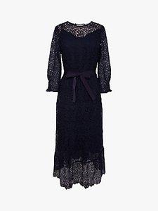 Read more about Gerard darel sveva floral lace asymmetric midi dress navy