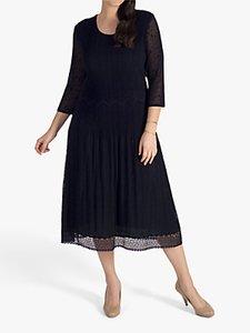 Read more about Chesca pleat lace detail midi dress black
