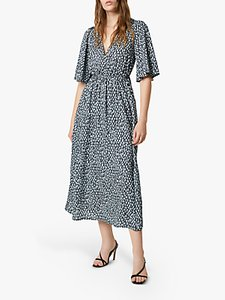 Read more about French connection akira drape abstract midi dress ebano silver