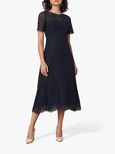 Read more about Jaeger fitted lace midi dress navy