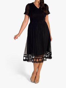 Read more about Chesca crush pleat lace midi dress black