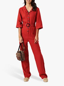 Read more about Brora linen button front belted jumpsuit burnt orange