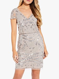 Read more about Adrianna papell beaded blouson mini dress marble