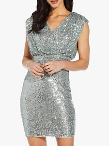 Read more about Adrianna papell sequin blouson sheath mini dress frosted sage
