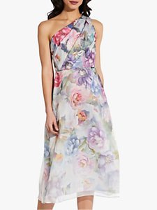 Read more about Adrianna papell one shoulder organza floral midi dress ivory multi