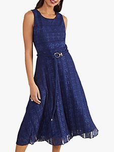 Read more about Yumi lace belted sleeveless midi dress navy