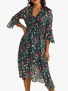 Read more about Yumi poppy asymmetric hem midi dress navy