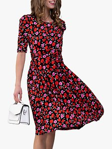 Read more about Jolie moi floral print ruched sleeve maxi dress red floral